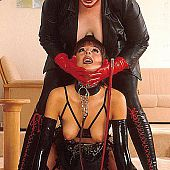 Hawt serf in darksome nylons dominated by bitchy dominatrix.