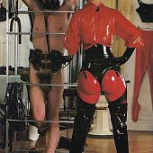 Vintage domino lady in red latex tortures shaggy stud.